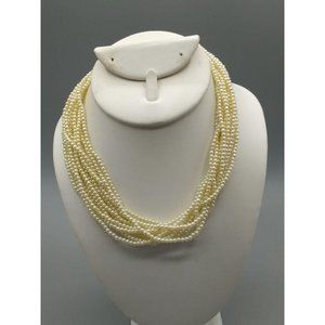 Vintage Marvella Faux Pearl Seed Beads Necklace